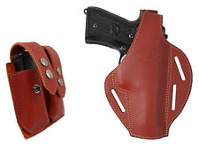 New Burgundy Leather Pancake Holster + Dbl Mag Pouch FN HK GLOCK Full Size 9mm