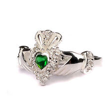 CELTIC IRISH CLADDAGH RING WITH WHITE BIRTHSTONE FOR APRIL MONTH
