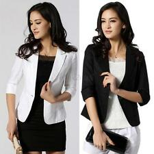 New Fashion Women Blazer 3/4 Sleeve One Button Short OL Suit Coat Jacket Outwear