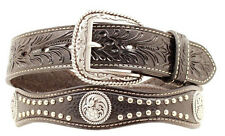Ariat Men's Western Scallop Concho Leather Belt & Buckle-Black  A1011601