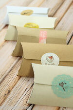 50pc eco friendly recycled shabby chic Kraft NO GLUE Pillow Boxes Wedding Favour