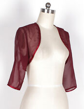 HOT BURGUNDY CHIFFON 3/4 Sleeve Wedding Bridal Shrug/Bolero Jacket