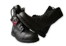 GI Type Military Style Steel Toe Combat Boots Black Leather Shoes Sizes US 5 -13