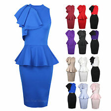 Womens Sleeveless Ruffle Side Peplum Frill Stretch Bodycon Midi Party Dress