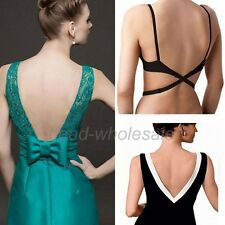 BLACK WHITE BEIGE WOMENS LOW BACK BRA STRAP EXTENDER BACKLESS TOP DRESS SINGLET