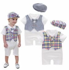 Baby Boy Shower Christening Wedding White Tuxedo Suit Outfit Clothes+HAT 0-12M