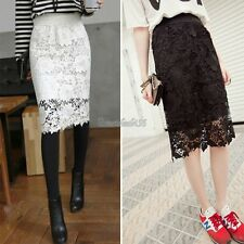 Women Sexy Crochet Embroidery Floral Flower Lace Stretch Pencil Skirt dress