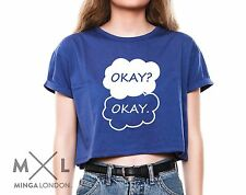 OKAY CROP TOP TANK T SHIRT WOMENS THE FAULT IN OUR STARS HIPSTER TUMBLR FUN SWAG
