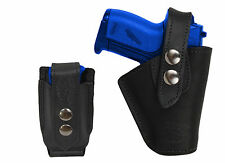 Barsony Gun OWB Black Leather Belt Holster w/Mag Pouch Walther Sig Mini 22 25