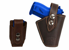 Barsony OWB Brown Leather Belt Holster w/Mag Pouch Jennings Raven Mini 22 25 380