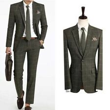 F/W New Premium for mens Dress casual check pattern Khaki Best 2-piece suits 268