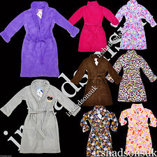 KIDS GIRLS BOYS EXTRA SOFT & FLUFFY PATTERNED PLAIN DRESSING GOWN ROBE 4-16YEARS
