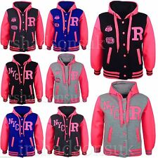 KIDS GIRLS BOYS VARSITY NYC FOX BASEBALL R NEON BRIGHT HOODED JACKET HOODIE 7-13