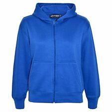 New Kids Girls And Boys Unisex Plain Fleace Hoodie Zip Up Style Size 5-13 Years