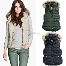 Women Sleeveless Coat Faux Fur Hoodie Hooded Coats Outwear Button Down Jacket