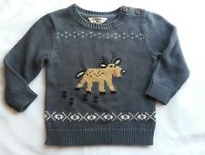 OshKosh Infant/Toddler Boys Gray Reindeer Pull-Over Sweater/Cardigan NWT $40