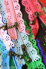 pretty LACE ZIPPER assorted colours sewing craft fabric project fancy deco Zip
