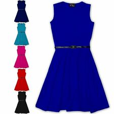 Girls Skater Dress Kids Party Dresses With Belt Age 7 8 9 10 11 12 13 Years