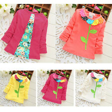CUTE Spring Autumn Cotton Baby Kid Girls Toddler Floral Tops Shirt Clothing 1-4Y