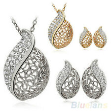 Creative Lover Hollow Leaf Gold Plated Rhinestone Necklace Earrings Jewelry Set