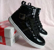 2014 new Men's Leather High Top Lace Up Sneakers Shoes Black white for men shoe