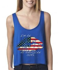 Vintage American Flag LIPS sexy FLOWY Boxy WOMEN TANK-TOP American Patriotism