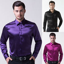 PJ New Handsome Men's Shiny Solid Color Long Sleeve Shirts Casual Tops 3 Colors