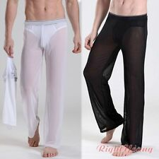 Mesh Men Sexy Lounge Sheer See through Baggy Yoga Sports Pants Gym Underwear