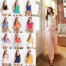 Women Chiffon Sleeveless Crew Neck Loose Vest versatile clothes Blouses tank Top