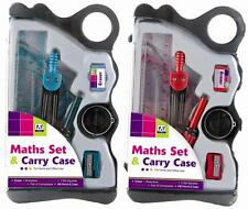 MATHS STATIONERY SET & CARRY CASE BACK TO SCHOOL RULER PROTRACTOR COMPASS BECA/1