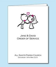 Personalised Wedding Order of Service/Day Cover or Booklet. D030 Bride & Groom