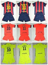 new 2014-2015  F.C.B shirt and short 3-14 years print MESSI NEYMAR or own name