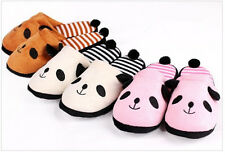 Korean Fluffy Ladies Winter Warm Plush Anti-slip Panda Tail Girls Slippers