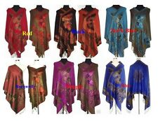 Fashion Double-Faced Chinese Women's Pashmina Silk Shawl/Scarf Butterfly