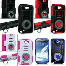SAMSUNG GALAXY NOTE 2 N7100 HYBRID CASE COVER WITH FINGER RING HOLDER STAND