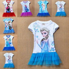 2014 New Toddlers Girls Frozen Princess Elsa Top T-Shirt Mesh Tutu Dress Skirt