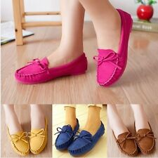 Women Suede Moccasin Flats Bowknot Casual Loafers Driving Slip On Comfort Shoes