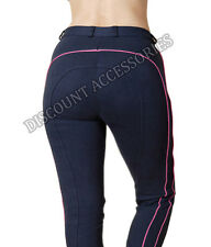 NEW HORSE RIDING LADIES SOFT STRETCHY JODHPURS/JODPHURS JODS NAVY / PINK PIPING