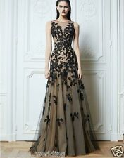 2014 Black Applique Party Formal Evening Ball Prom Cocktail Dresses Wedding Gown