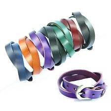 COOL Buckle Bracelet Wrist Double Wrap Genuine Leather Rock Punk Wristband Cuff
