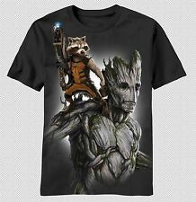 Guardians of the Galaxy Movie Rocket Raccoon Groot Image Marvel Mens T-shirt Top