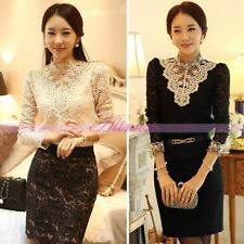 Lady Party Lace Shirt Long Sleeve Ruffle High Neck Collar Blouse Top With Vest