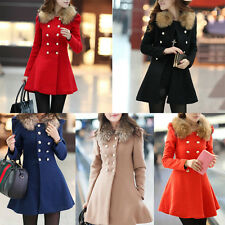 Hot Fashion Slim Wool Fur Collar Trench Warm Coat Double Breasted Jacket Winter