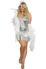 1920s Dazzle Great Gatsby Silver Sequin Flapper Dress Plus Size Costume