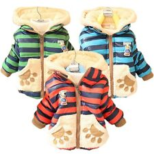Baby Toddler Boy Girl Winter Warm Jackets Teddy Bear Hoodie Fleece Coat