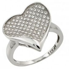 Sterling Silver Forever Love Heart Valentine's Day Gift Clear CZ Ring Size 3-11