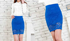 Hot Retro Women High waisted Floral Lace Crochet Bodycon Mini Pencil Skirt dress