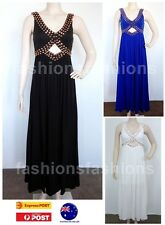 Women Party Cocktail Studs Black Blue White Evening Maxi Dress SZ 8 10 12