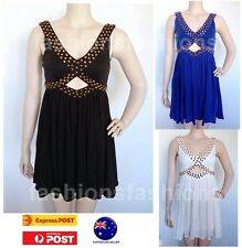 Women Party Cocktail Studs Black Blue White Evening Mini Dress SZ 8 10 12