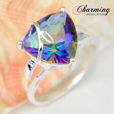 Romantic Gift Gorgeous Rainbow Fire Mystical Topaz Gemstone Silver Ring Sz 7 8 9